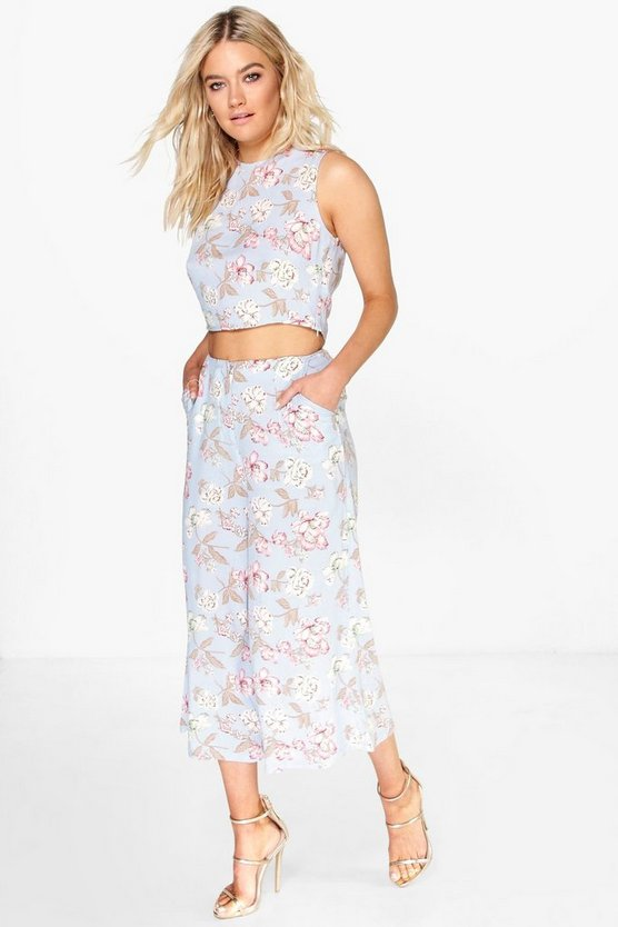 Blue Poppy Floral Culotte & Crop Top Co-Ord Set