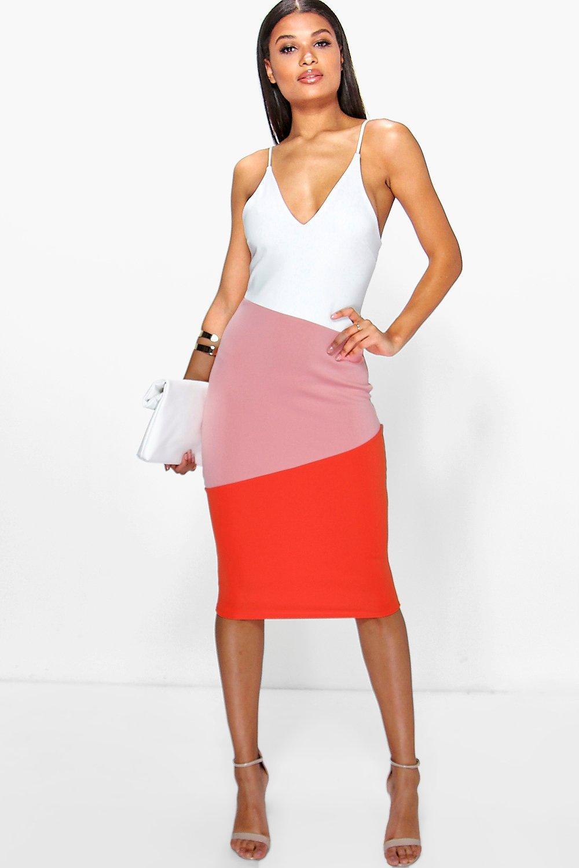 866f4be93d410 Pernille Strappy Colour Block Detail Midi Dress | Boohoo