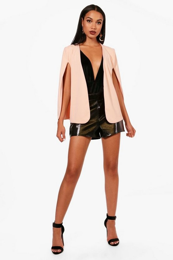 Womens Nude Cape Blazer