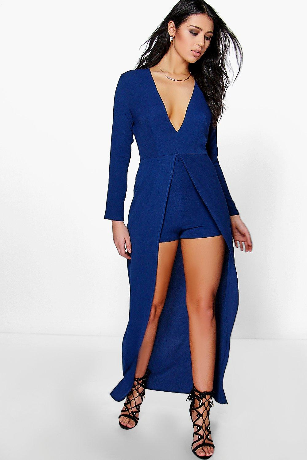usa cheap sale incredible prices latest selection of 2019 Ann Maxi Overlay Plunge Long Sleeve Playsuit | Boohoo