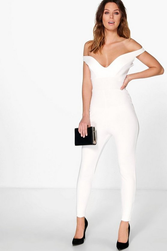 Off The Shoulder Sweetheart Neck Jumpsuit