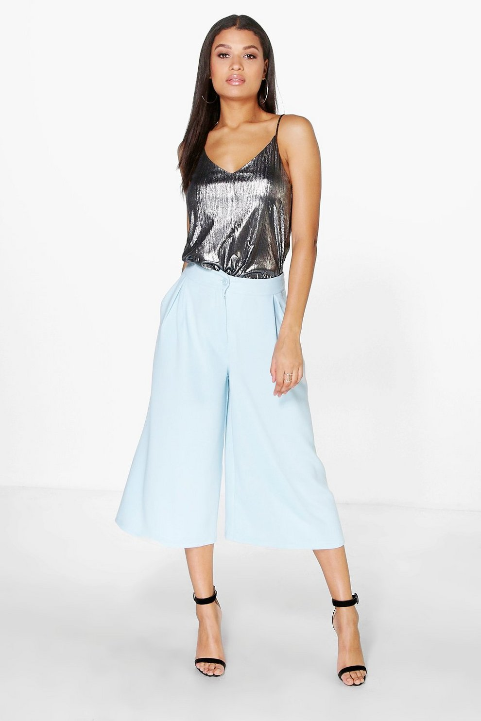 4cca448abf Orianna Pleat Front Wide Leg Tailored Culottes | Boohoo