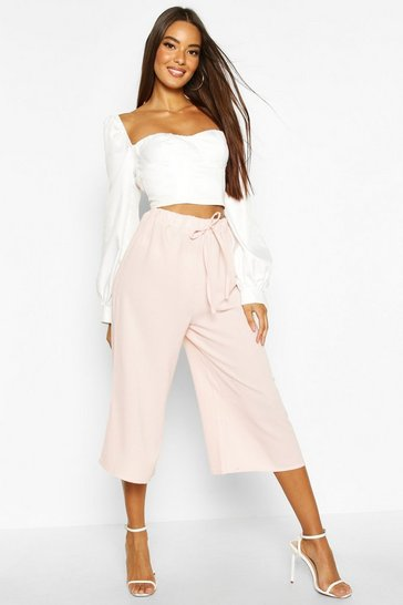 Nude Basic Tie Waist Woven Crepe Culottes