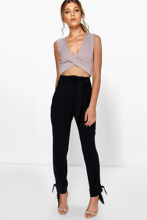 Belted Tailored Tie Ankle Slim Trousers