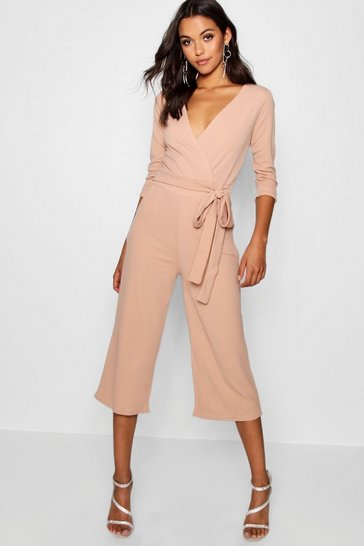 Womens Stone Roll Sleeve Relaxed Culotte Jumpsuit