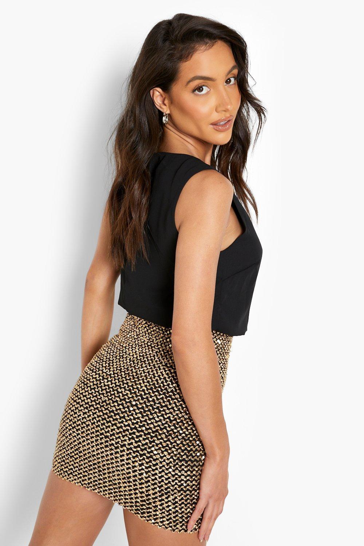 7fdb59c79e730 Close video. Womens Black 2 in 1 Chiffon Top Sequin Skirt Bodycon Dress  alternative image; Womens Black ...