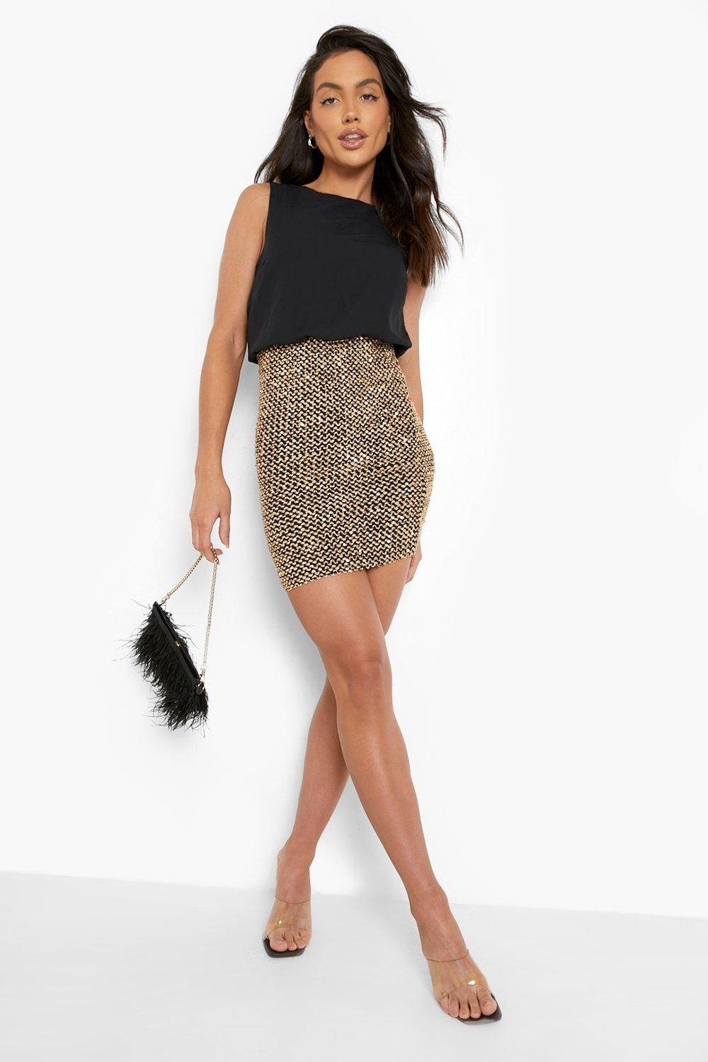 94886ecbb4ee Boohoo Womens Delia 2 in 1 Chiffon Top Sequin Skirt Bodycon Dress