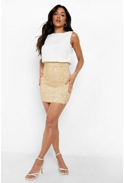 Womens Ivory 2 in 1 Chiffon Top Sequin Skirt Bodycon Dress