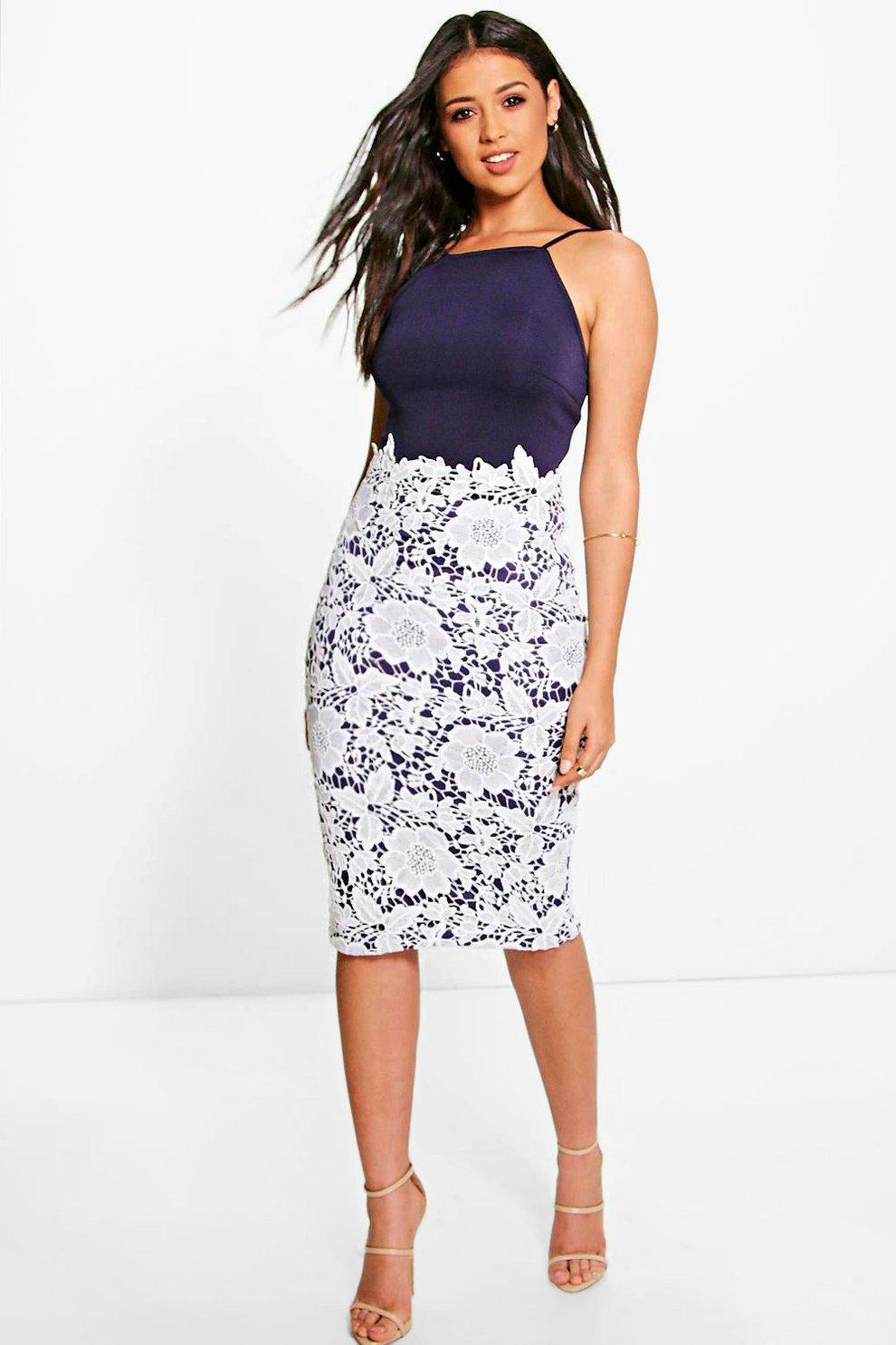 4ebde8e23e23 Boutique Eli Crochet Lace Midi Bodycon Dress | Boohoo
