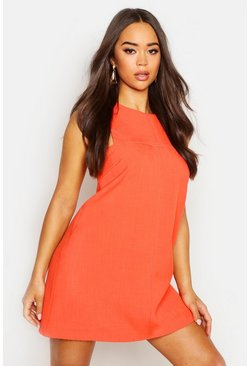 Orange Tab Side Shift Dress