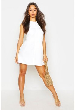 Womens White Tab Side Shift Dress