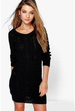 Womens Black Cable Knit Mini Dress