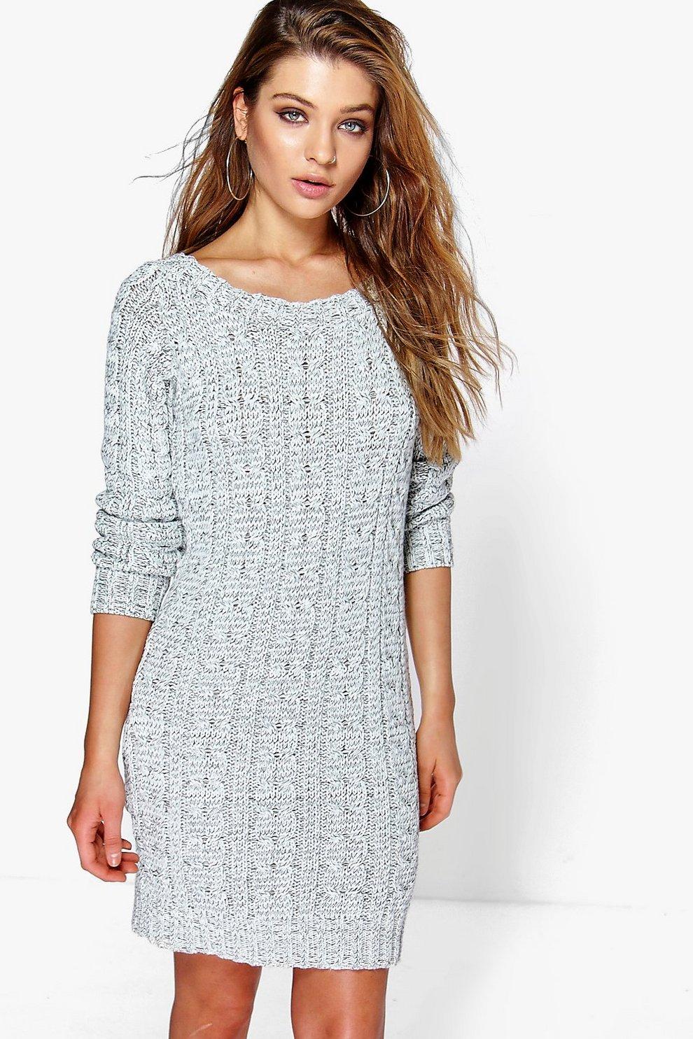 Robe mini en tricot torsadé   Boohoo 350ee8f41d4a