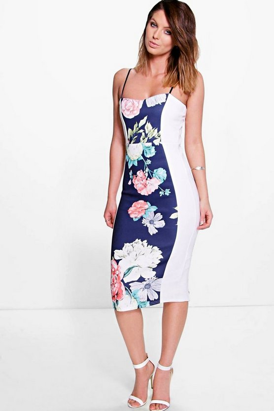 Tina Strappy Printed Panel Detail Midi Dress