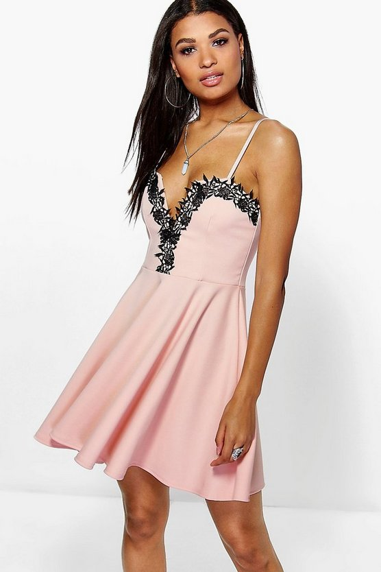 Beatrice Lace Plunge Trim Skater Dress