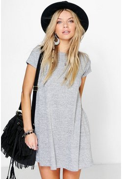 Womens Grey Short Sleeve Knitted Swing Dress