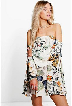 Womens Multi Floral Off The Shoulder Woven Dress