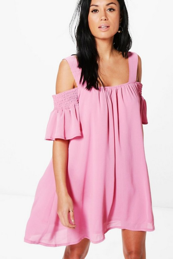 Eliza Cold Shoulder Swing Dress