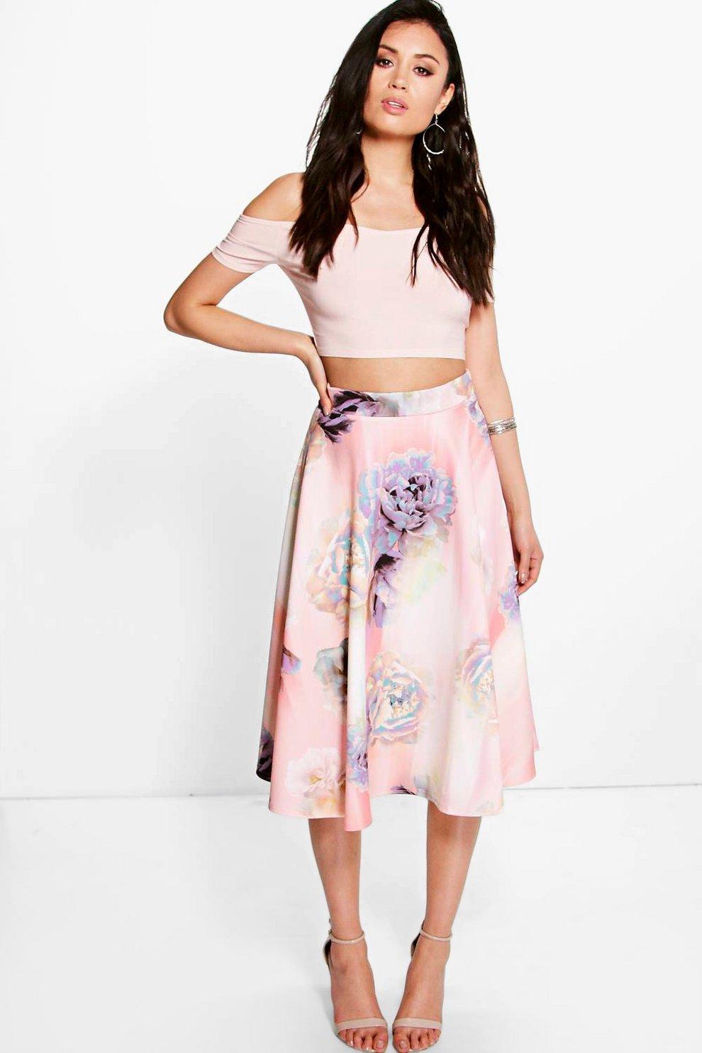 4a4aa6cff9 Eve Pastel Floral Full Midi Skirt | Boohoo