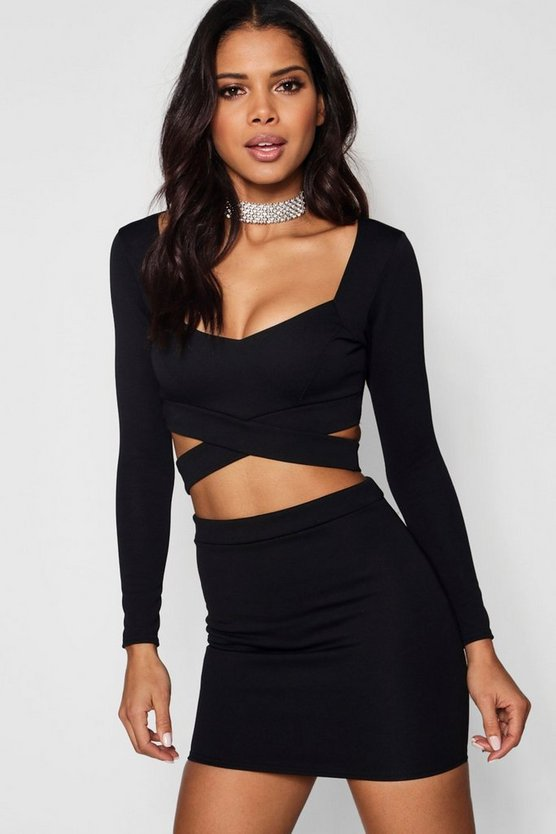 Womens Black Wrap Top & Mini Skirt Co-Ord Set