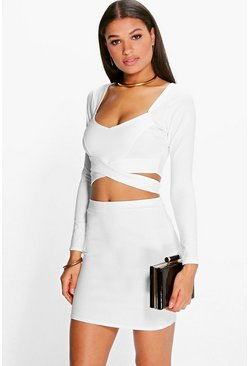 Womens Ivory Wrap Top & Mini Skirt Co-Ord Set