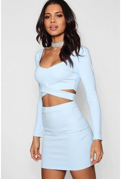 Womens Sky Wrap Top & Mini Skirt Co-Ord Set