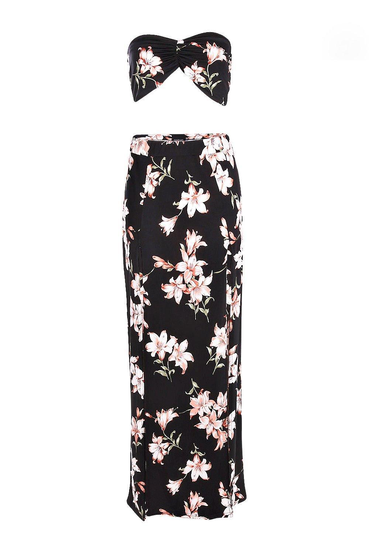 larga top palabra falda de y Conjunto negro de floral gqEwOFFxU