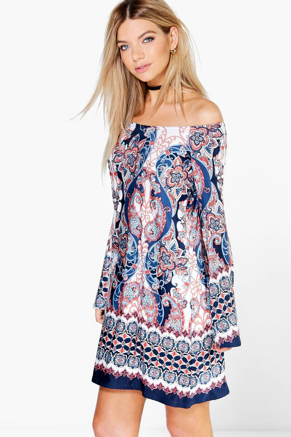 cd18007569c3 Jenna Bell Sleeve Off The Shoulder Swing Dress | Boohoo