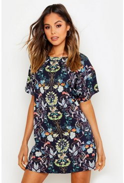 Womens Navy Oriental Floral Cap Sleeve Shift Dress