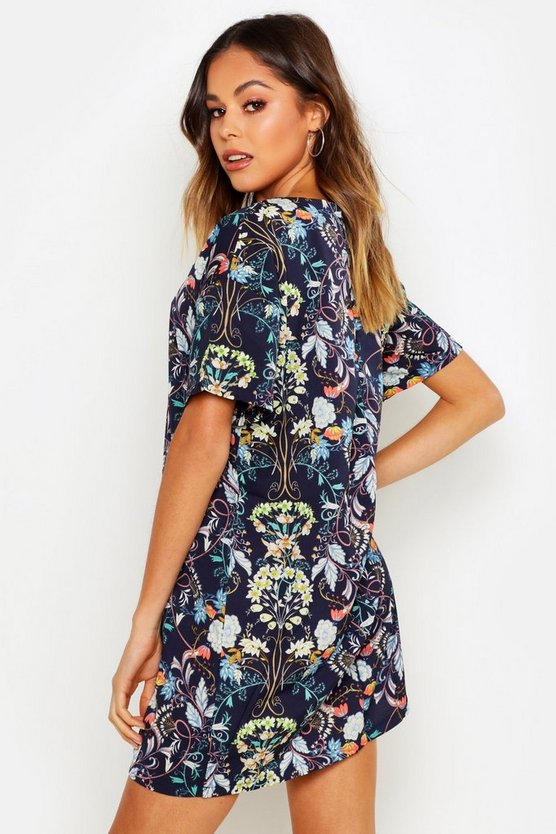 Oriental Floral Cap Sleeve Shift Dress