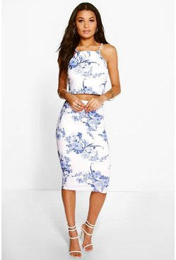 Womens Blue Porcelain Print Top & Midi Skirt Co-ord Set