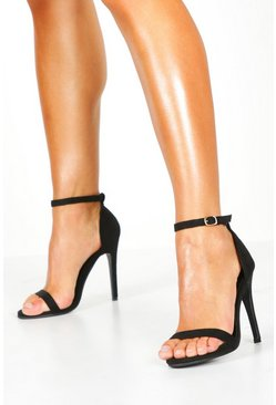 Womens Black Suedette Skinny Barely There Heels