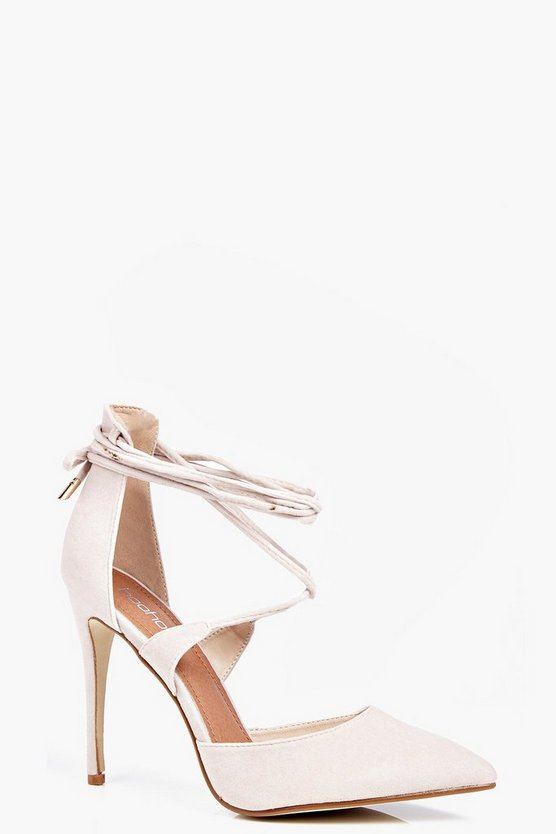 Womens Nude Jessica Pointed Wrap Strap Court