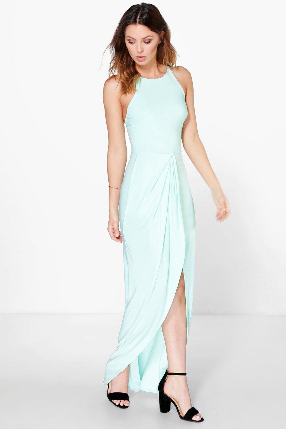 79f74860c71e1 Astrid Gathered Wrap Cross Back Strap Maxi Dress | Boohoo