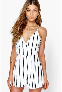 White Wide Stripe Wrap Front Romper