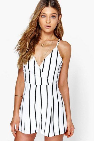 White Wide Stripe Wrap Front Playsuit