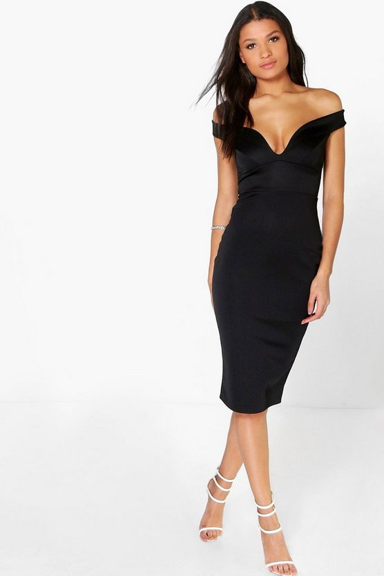 Womens Black Skye Off The Shoulder Midi Bodycon Dress