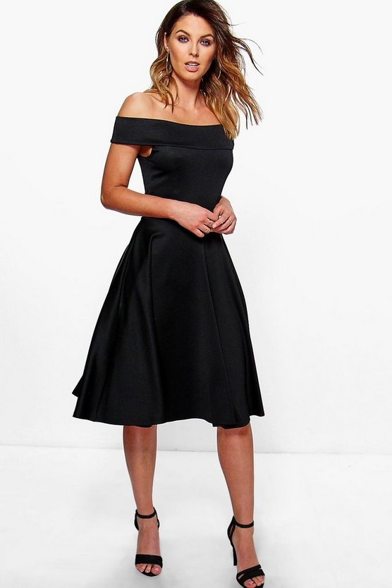 Off The Shoulder Midi Skater Dress