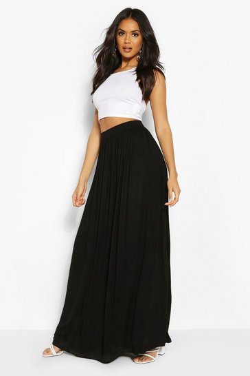 Black Floor Sweeping Jersey Maxi Skirt