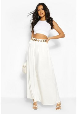 Womens Ivory Floor Sweeping Jersey Maxi Skirt