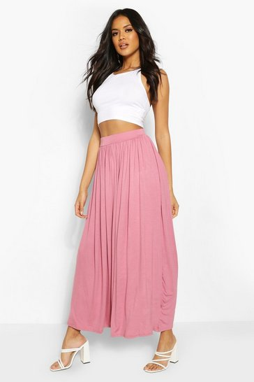 Womens Rose Floor Sweeping Jersey Maxi Skirt