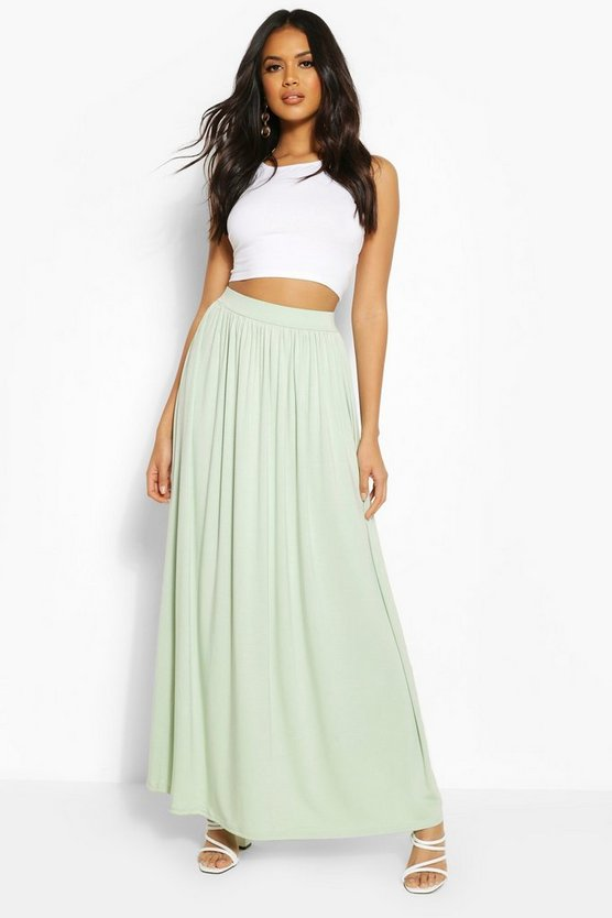 Womens Sage Floor Sweeping Jersey Maxi Skirt