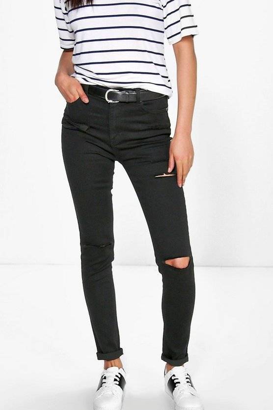 Womens Heather High Waisted Ripped Skinny Jeans