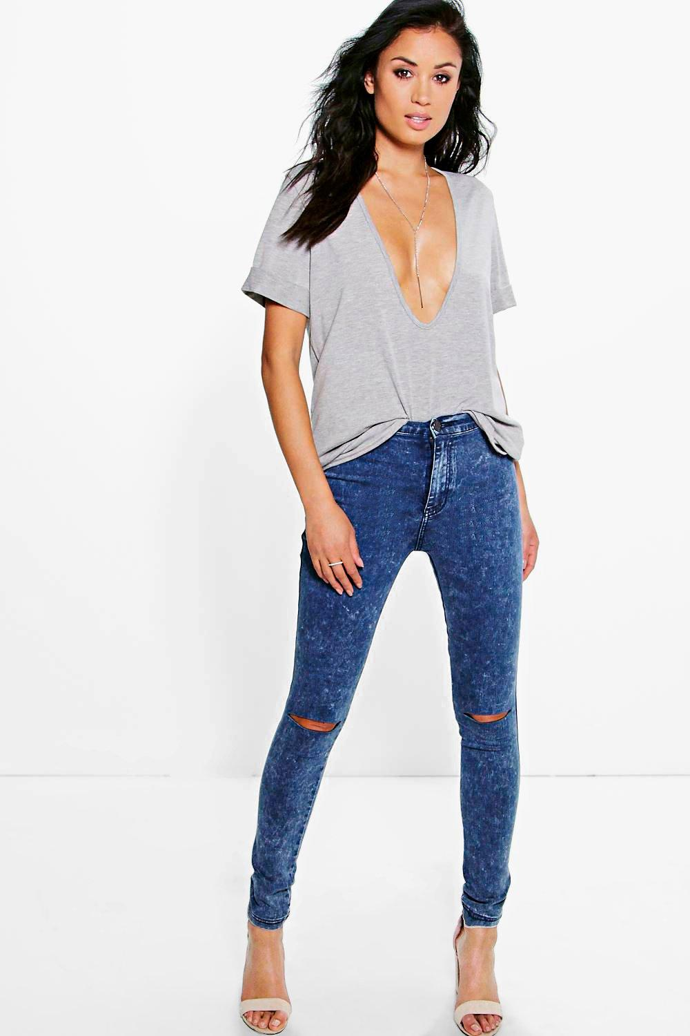 925039fbadcc Womens Blue Lara High Rise Acid Wash Knee Slit Skinny Jeans. Hover to zoom