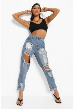 Womens Blue High Waist Light Wash Distress Mom Jeans