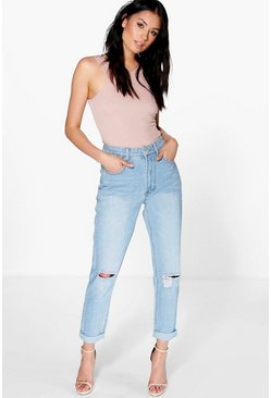 Womens Blue High Waist Bleached Mom Jeans