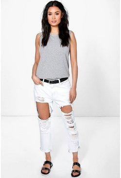 Womens White Izzy Ripped Boyfriend Jeans