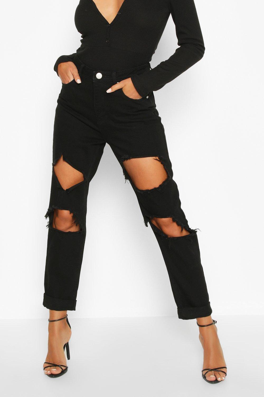 desgastados estilo Vaqueros cintura boyfriend de negro alta d4dwEqZr