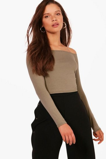 Womens Khaki Basic Long Sleeve Bardot Crop Top