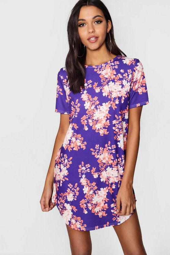 Floral Curved Hem Shift Dress